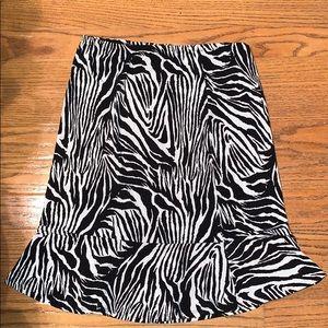 CATO stretch waist flare bottom zebra skirt small